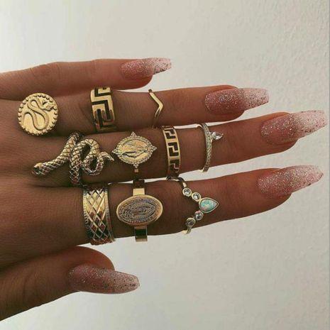 Nuevo anillo conjunto anillo de diamantes de personaje retro creativo conjunto anillo de serpiente conjunto de 10 piezas NHGY183411's discount tags