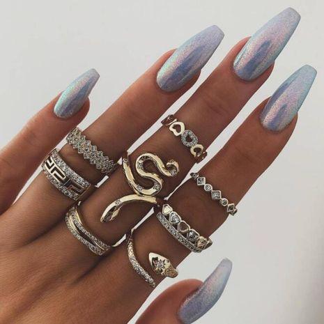 Nouveaux bijoux transfrontaliers creux bague serpent ensemble 8 anneaux animaux avec diamants NHGY183432's discount tags