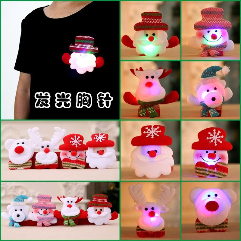 Christmas decoration supplies glowing brooch Christmas gifts wholesale NHMV183215