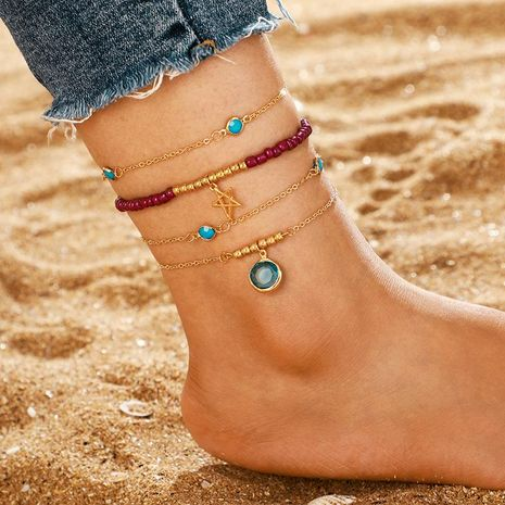 Personalidad de moda Mi Beads Hollow Star Multicapa Tobillera Redondo Zafiro Tobillera Juego de 4 NHGY183421's discount tags