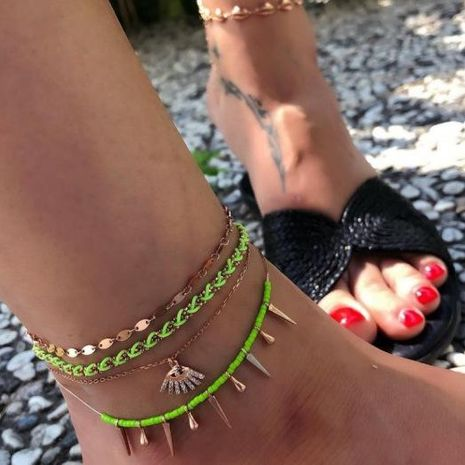 Diamond Eyelashes Fringe Multilayer Anklet Anklet Set of 4 NHGY183424's discount tags