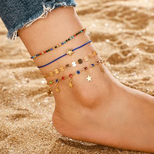 Fashion Simple Colorful Rhinestone Star Tassel Anklet Small Fresh Anklet Set of 4 NHGY183430's discount tags