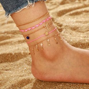 Simple Fashion Star Angel Angel Anklet with Diamond Tassel Pink Thread Rope Anklet Set of 5 NHGY183434's discount tags