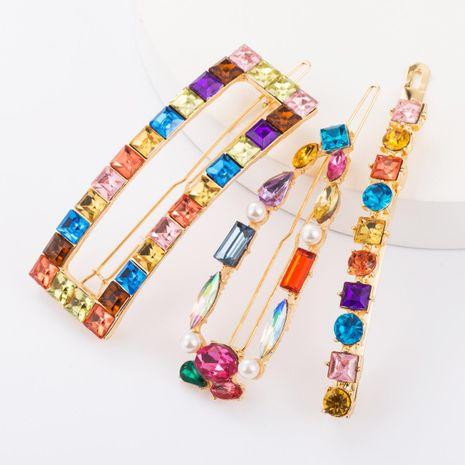 Aleación geométrica diamante vidrio diamante color horquilla conjunto combinación clip superior conjunto de tres piezas NHJE183374's discount tags