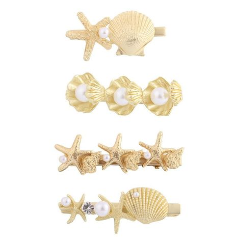 Pinza de pelo simple de aleación de concha de estrella de mar Concha de perla de pico de pato marino NHHN183263's discount tags