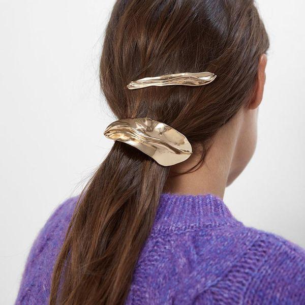 Fashion same alloy geometric leaf shape set hair clip simple hair accessories NHMD183233