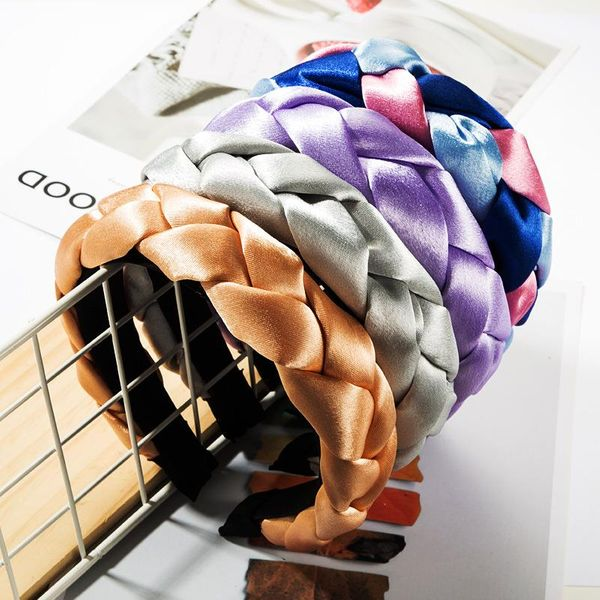 Fashion solid color cloth fabric headband twist braid braided headband personality wild NHJE183369