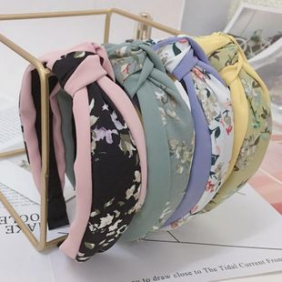 New cloth headband chiffon floral stitching middle knot hair accessories headband NHRH183236's discount tags