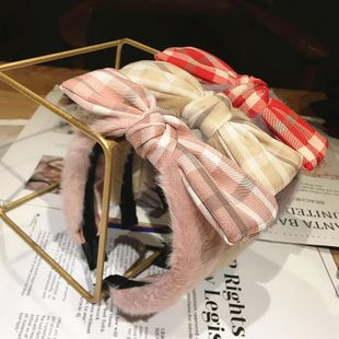 Fashion rabbit fur wide gingham cloth bow headband ear hair accessories hair hoop women NHRH183237's discount tags