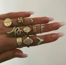 New joint ring creative retro character diamond ring set snake ring 10 piece set NHGY183411