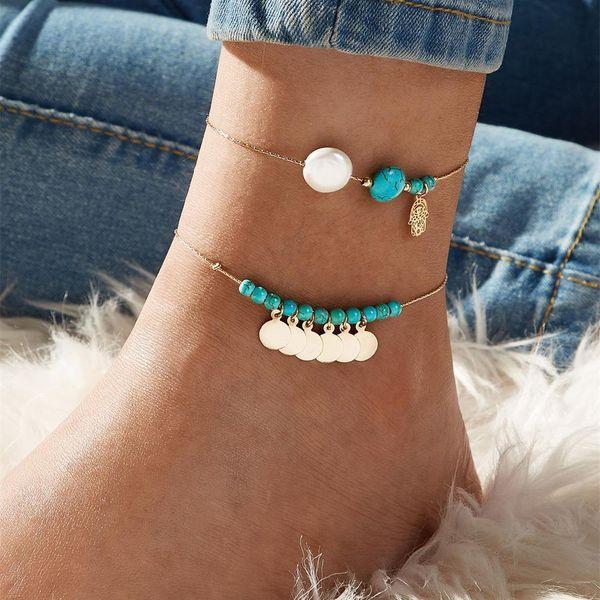 Wild Round Turquoise Pendant Anklet Fringe NHKQ185446