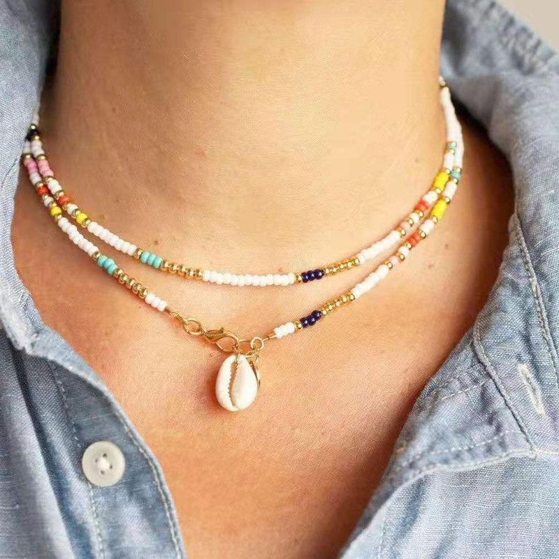 Hot items women's boho colorful rice beads necklace shell necklace women NHCT185765