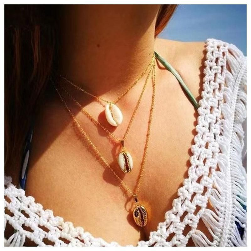 Jewelry wholesale fashion metal alloy shell pendant multilayer necklace women NHCT185766