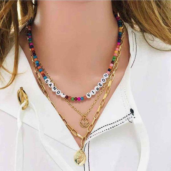 Popular jewelry wholesale alphabet portrait pendant colored natural stone multilayer necklace women NHCT185770