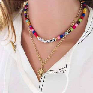 Fashion colored acrylic beaded necklace women bohemian sun flower pendant necklace NHCT185771's discount tags