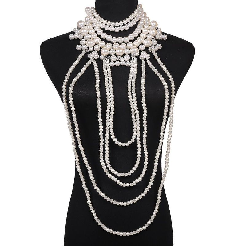 hot pearl beaded sweater chain exaggerated body chain simple fashion pearl clothes wholesale NHJQ185851