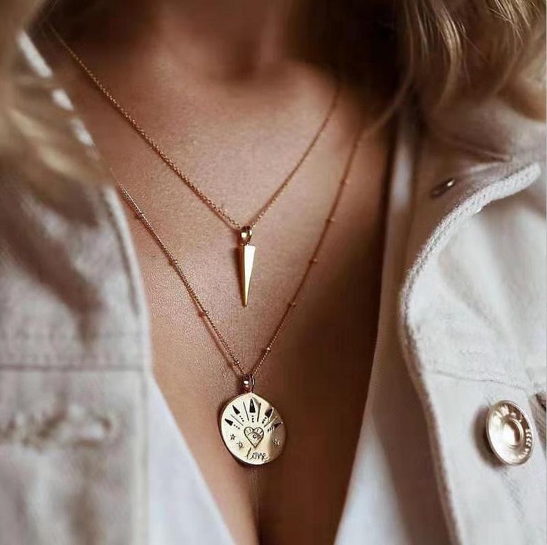 Nuevos accesorios populares simples redondos amor remache collar collar combinación conjunto mujeres NHGY185791
