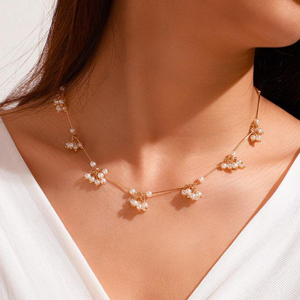 Fashion wild alloy flower pearl single layer clavicle chain metal texture women NHGY185801