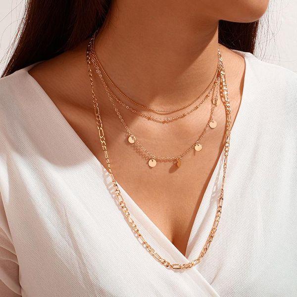 Nuevos accesorios moda cadena disco collar de múltiples capas collar mujeres al por mayor NHGY185803