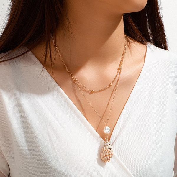 Creative Pearl Conch Pendant Double Necklace Necklace Long Geometric Clavicle Chain NHGY185804