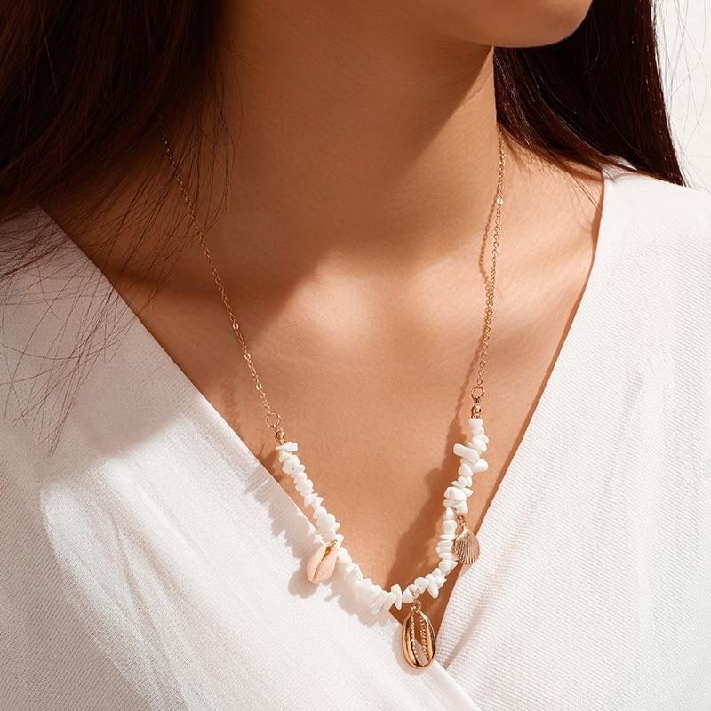 Shell neck chain necklace single layer new simple alloy scallop necklace women NHGY185805