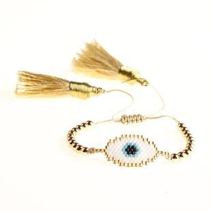 New Miyuki Mizhu Weaving Religious Totem Evil Eye Female Bracelet Tassel Ornaments NHGW185585's discount tags