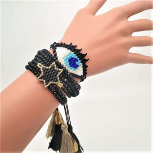 New Fashion Crystal Tassel Lady Bracelet miyuki Mizhu Woven Pentagram Devil's Eye bracelet NHGW185592's discount tags