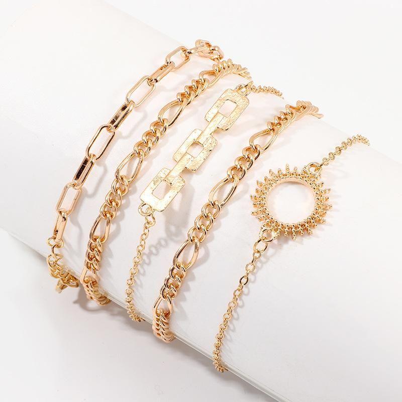 Jewelry new fashion 5 piece set bracelet simple style thick chain bracelet wholesale NHNZ185890