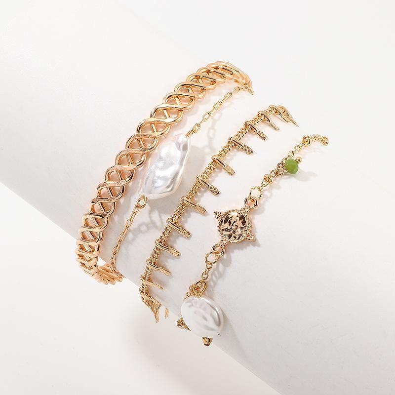 Jewelry new multi-element metal bracelet irregular pearl pendant 4 combinations NHNZ185893