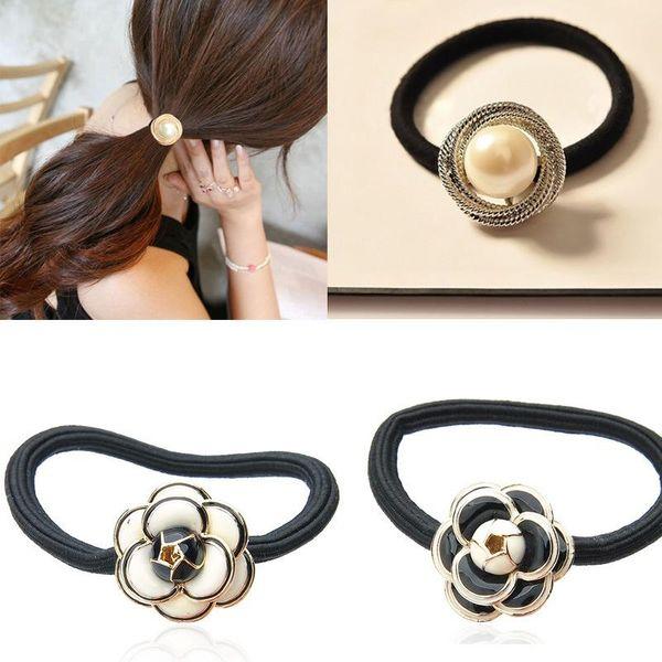 Camellia hair ring alloy flower hair rope NHDP185754
