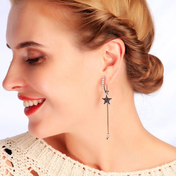 s925 sterling silver earrings Korean fashion simple star moon tassels earrings female long earrings NHQD185952