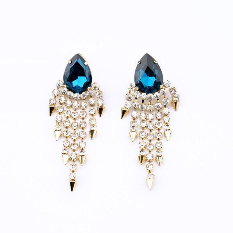 Fashion Jewelry Wholesale New Alloy Tassel Water Drop Diamond Lady Stud Earrings NHQD185977