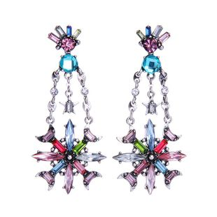 Long colorful earrings wholesale retro fashion jewelry ladies diamond star alloy earrings NHQD185978's discount tags