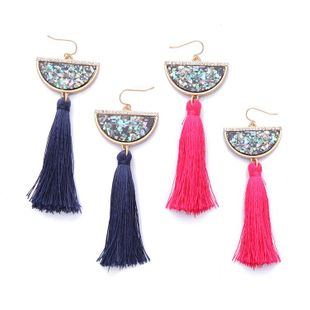 Fashion Jewelry Long Semicircular Shell Tassel Lady Earrings Wholesale NHQD185981's discount tags