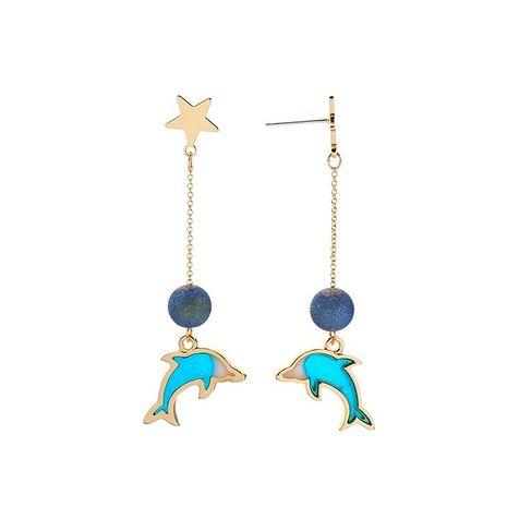 s925 silver pin enamel dripping oil cute dolphin earrings earrings women long earrings NHQD185982's discount tags