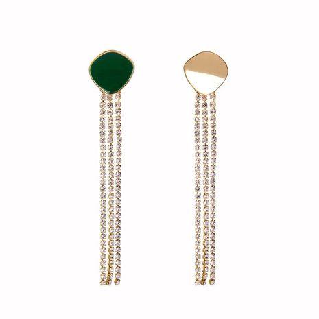 Long asymmetric enamel drip oil tassel earrings wholesale NHQD185983's discount tags