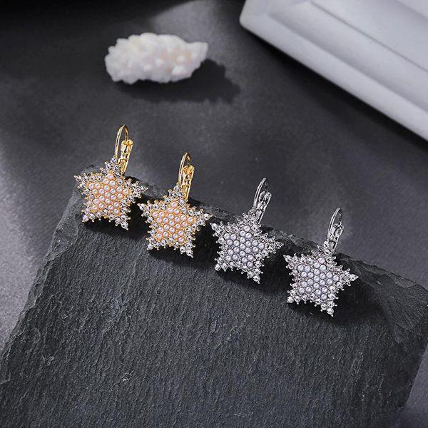 Nuevos aretes de diamantes de cristal pendientes de perlas pendientes de estrella salvaje mujeres NHQD185964
