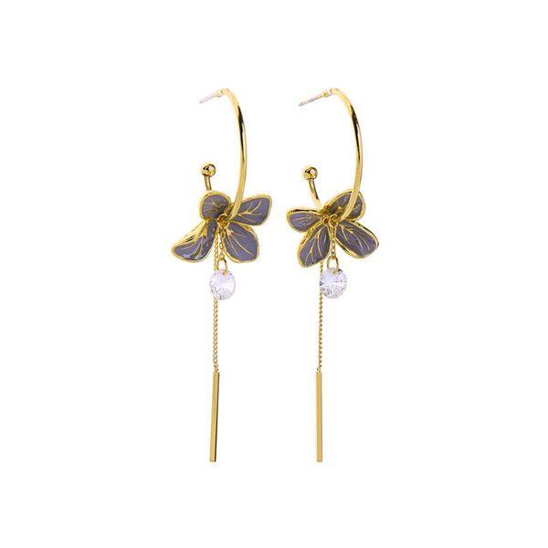 Enamel Glazed Earrings Fashion Diamond Earrings Long Wild Flower Earrings NHQD185970