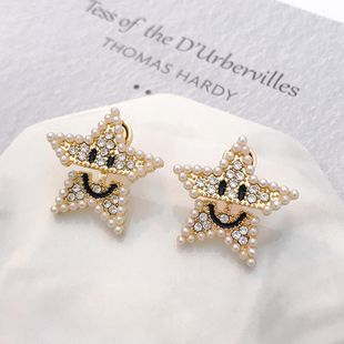 Pearl earrings pentagram smiley wholesales fashion NHNZ185888's discount tags