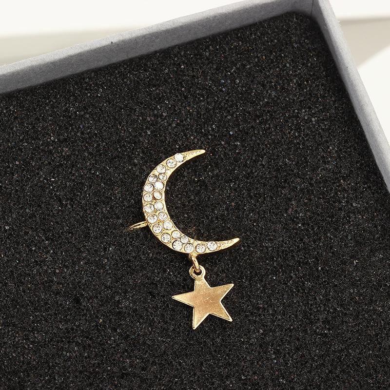 Diamond Lightning Earless Earrings Women Star Moon Earrings NHNZ185918
