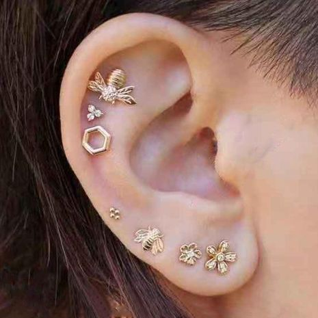 New Fashion Alloy Bee Ear Studs Diamond Flower Earrings 6 Combinations NHNZ185924's discount tags