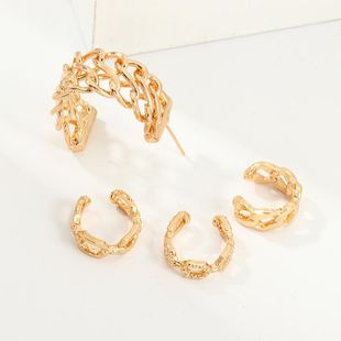 Simple and stylish geometric C-shaped earrings punk style alloy ear hanging without piercings NHNZ185928's discount tags
