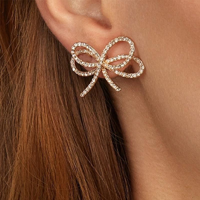 Alloy diamond bow earrings NHJQ185865