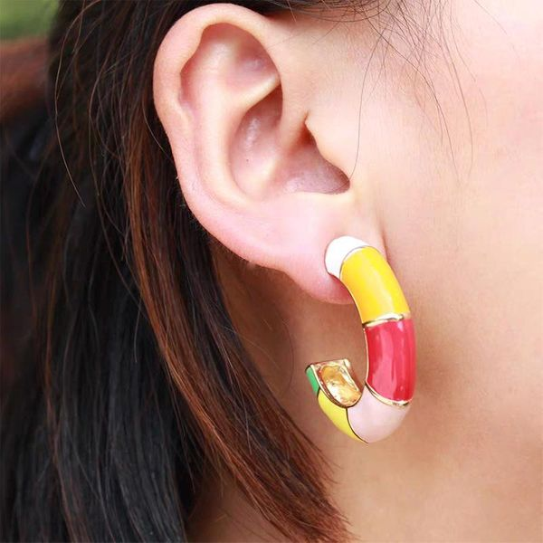 Alloy oil drop earrings fashion stitching color ear clip NHJQ185871