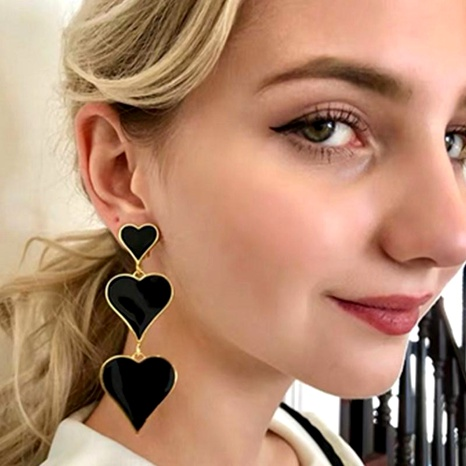 Exaggerated personality dripping three-layer peach heart love long earrings NHGY185794's discount tags