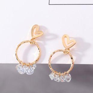 Love earrings simple copper ring zircon earrings wholesale NHNZ185931's discount tags