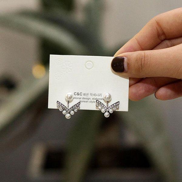 Pearl Earrings Personalized Geometric V Shape S925 Silver Stud Earrings NHNZ185933