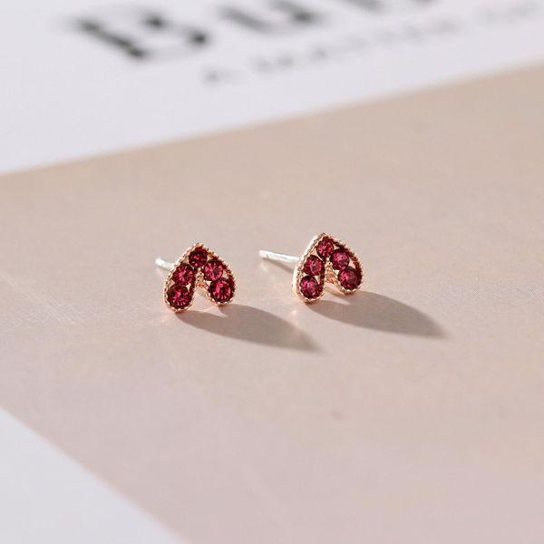 Aretes de amor de moda Wild Diamond Mini Heart S925 Silver Pin Earrings NHNZ185934