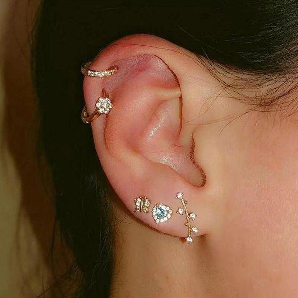 Simple fashion flower butterfly earrings pop love zircon earrings NHNZ185936