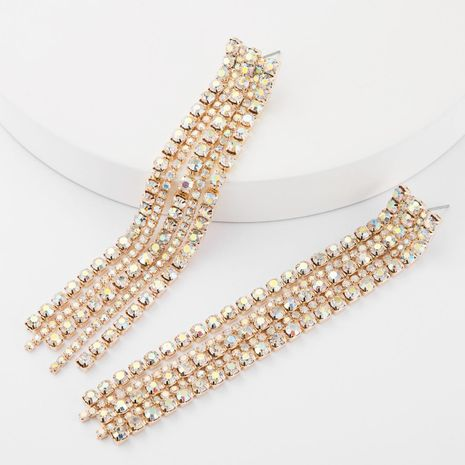 Women's alloy tassel earrings with diamonds and rhinestones NHJE185816's discount tags